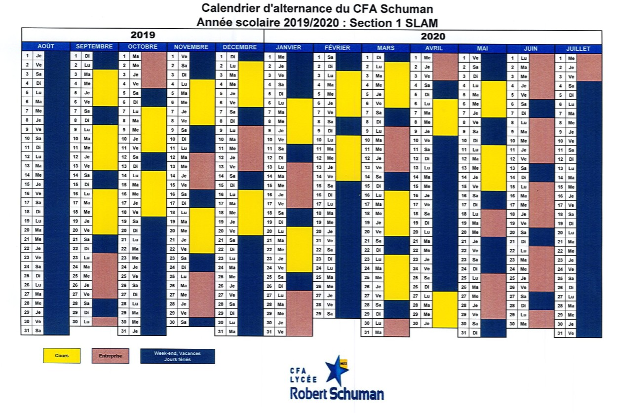 Calendrier Cfa 2020 2019.Calendrier D Alternance Bts Sio Slam Cfa Robert Schuman